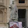 St Peter Statue - Pope Benedict on TV