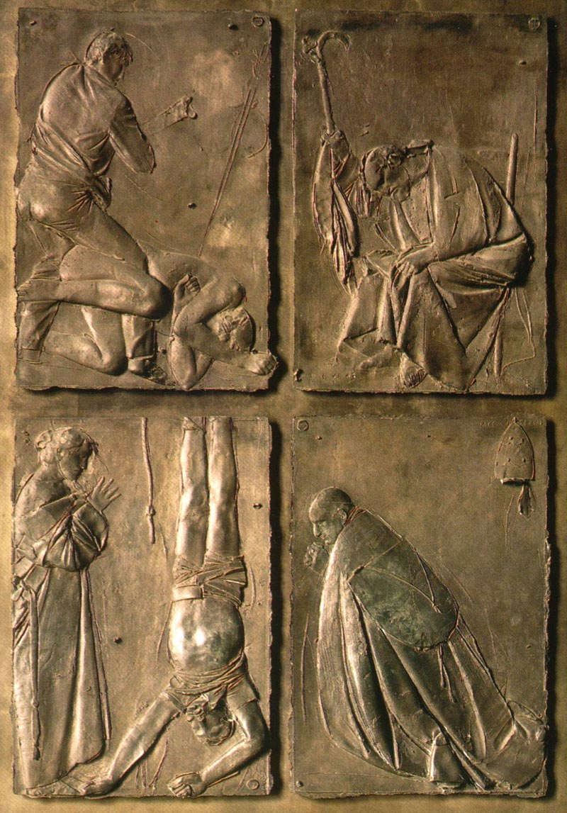The Door of Death is on the far left. It used to be the exit for funeral processions. Images Death of Jesus (top right) and Death of Mary (top ... & St. Peteru0027s - Door of Death