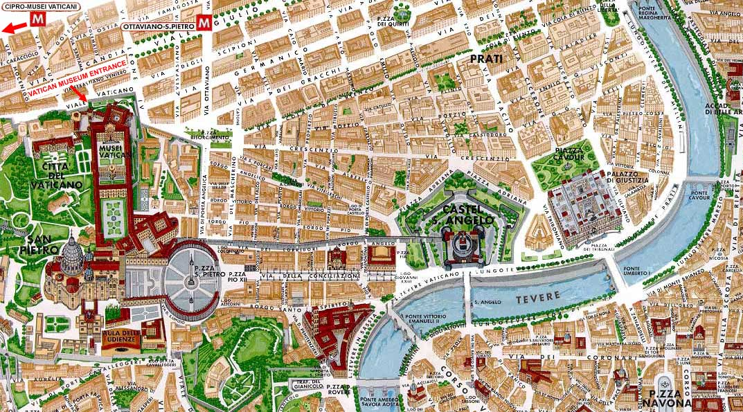 Vatican City Map Of Rome – Rome Tourist Map PDF